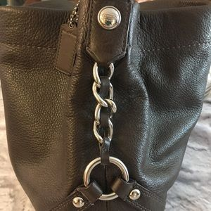 Coach Purse Brown Silver Accents chain leather